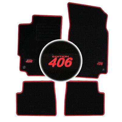 4 TAPIS SOL PEUGEOT 406 COUPE 2.0 3.0 V6 2.2 HDI MOQUETTE LOGO BLANC SPECIFIQUE