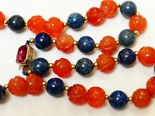 CHINESE VINTAGE Carved shu CARNELIAN Lapis BEAD NECKLACE,SILVER CLASP, 62g