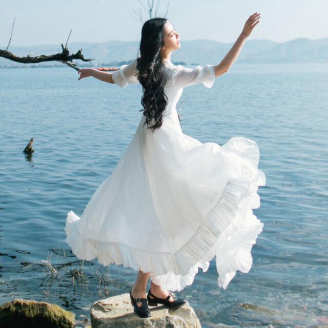 Vintage Woman Sweet Lolita Princess Dresses Chiffon Mori Girl White Dress Fairy
