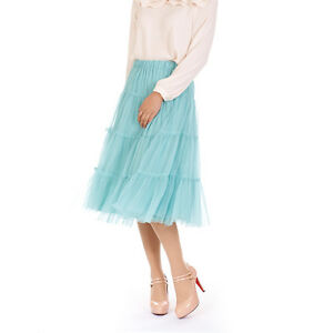 Womens-Ladies-Lovely-Tulle-Mesh-Elastic-Waist-Tiered-Long-Tutu-Skirt