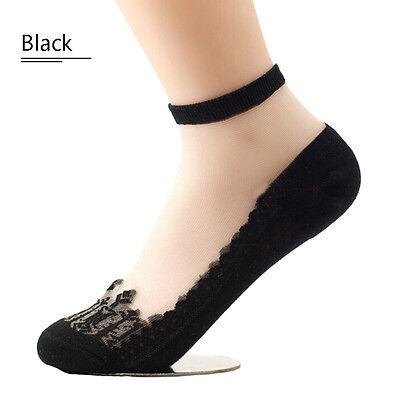 Women's Ultrathin Transparent Beautiful Crystal Lace Elastic Short Socks New QWC