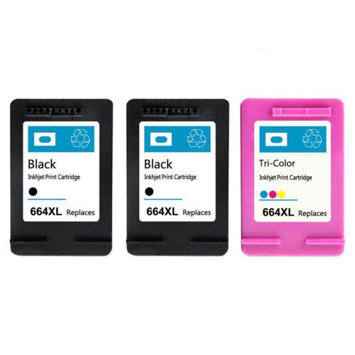 3PK for HP 664XL Black Color Ink Cartridge Show Ink Deskjet 1115 2136 3636 3836