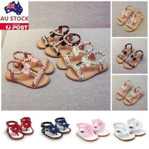 Kids Girls Bow Pearl Crystal Roman Sandals Flower Crib Prewalker Shoes AU Stock