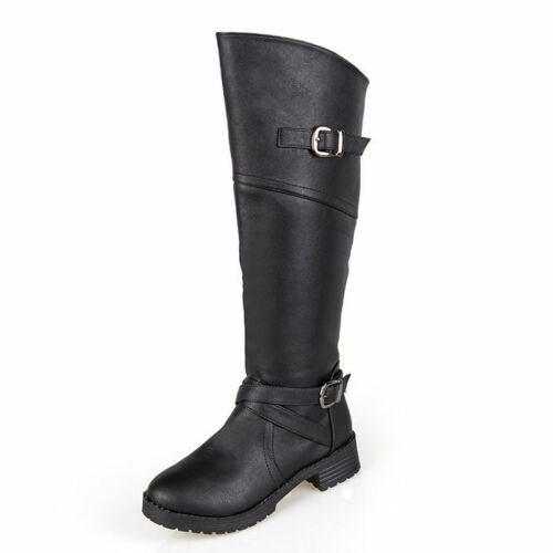 Women Leather Buckle Mid-Calf Boots Block Heel Side Zipper Shoes Stretch Boots