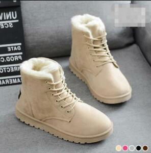 Womens-Girls-Winter-Snow-Warm-Fur-Lined-Lace-Up-Flat-Round-Toe-Ankle-Boots-Shoes
