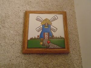 Vintage Hand Painted Tile Trivet by Siegel Arts Ceramic Wood Frame Windmill