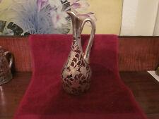Antique Art Nouveau Sterling Silver Overlay Glass Pitcher/Ewer, cranberry glass