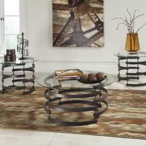 Details about Round 3 Piece Metal Leg Coffee Table Set Collection Home  Living Room Furniture