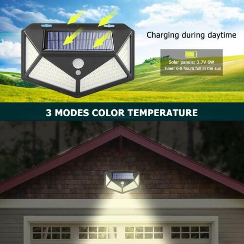 Outdoor 100LED Solar Motion Sensor Wall Light Waterproof Yard Security Lamp