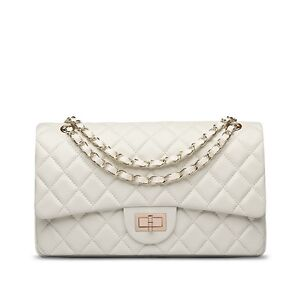 USA-Lambskin-Handbag-Quilted-Sheepskin-Leather-GoldStrap-Double-Flap-Bag-white