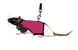 Trixie-Rata-Pequena-conejillo-de-indias-Arnes-Suave-Rosa-Resistente-malla-de-plomo-1-2M-Lindo
