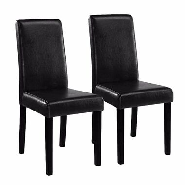 Set of 2 Elegant Design Leather Dining Chairs
