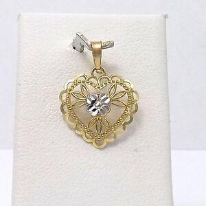 NEW-10K-Two-Tone-Filigree-Diamond-Cut-Hearts-Charm-Pendant