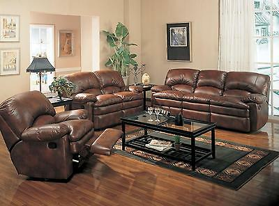 Walter Brown Reclining Leather Sofa Loveseat Recliner Living Room Furniture Set