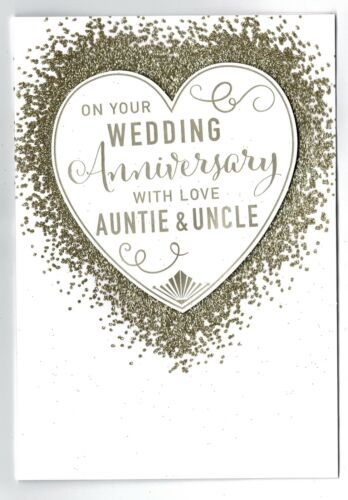 Auntie And Uncle Anniversary Card /'On Your Wedding Anniversary Auntie And Uncle/'