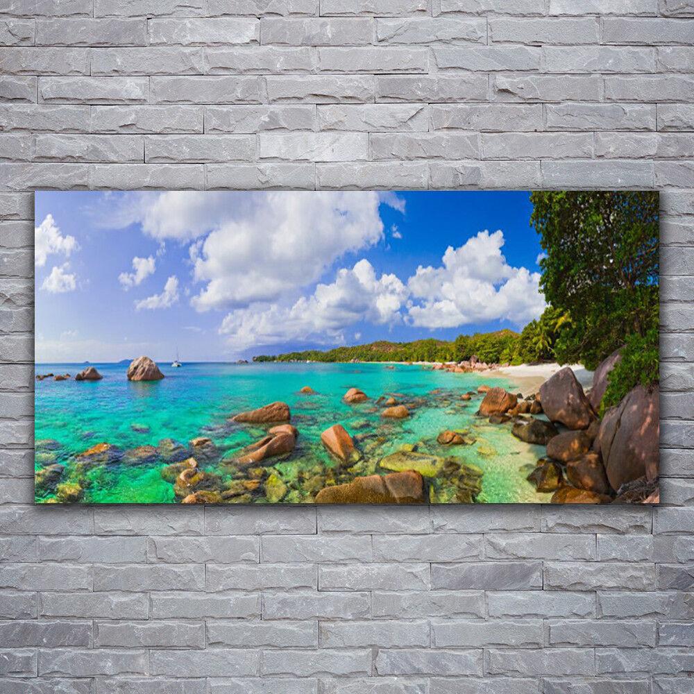 Glasbilder Wandbild Druck auf Glas 120x60 Meer Steine Bäume Landschaft