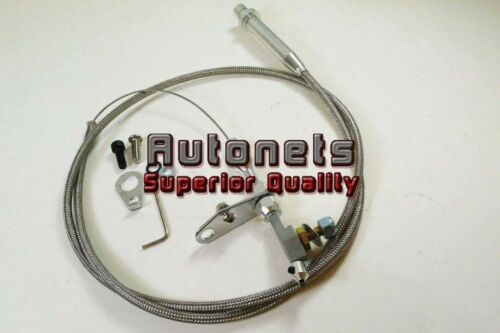 TH-350 Stainless Braided Transmission Kick Down Cable Detent Chevy Trans TH350