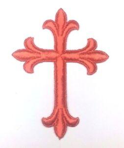 Vintage-Liturgico-Cruz-Bordado-Plancha-Naranja-un-7-6cmx-10-2cm-Emblema-UTP-2-PC