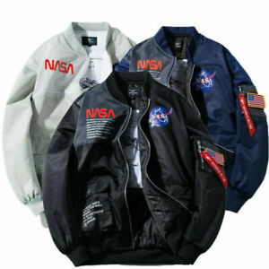 Spring Mens MA-1 Flight Jacket NASA Style Pilot Coat Army Bomber Hip Hop Jacket