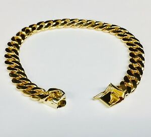 c9157f6109dd2 Details about 14k Solid Yellow gold Miami Cuban Curb Link mens bracelet 7