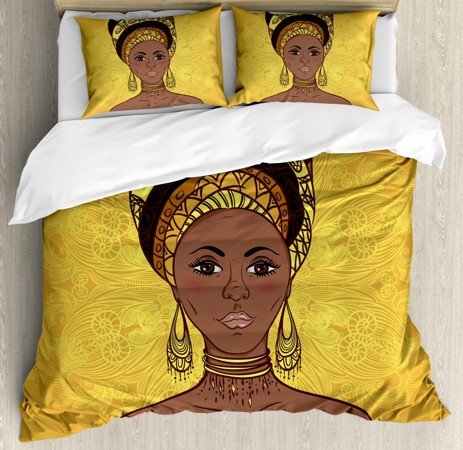 African Woman Duvet Cover Set with Pillow Shams Tribal Portrait Print