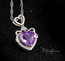 925 Silver heart w purple crystal Rhinestone pendant necklace - SH2