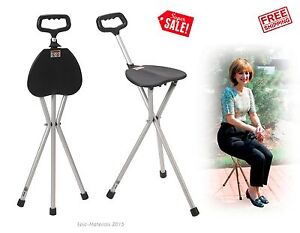 Medical Folding Walking Stick Cane Seat Chair Portable