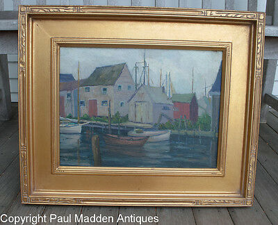 Antique Nantucket Wharves Oil Painting by Anne Waldron