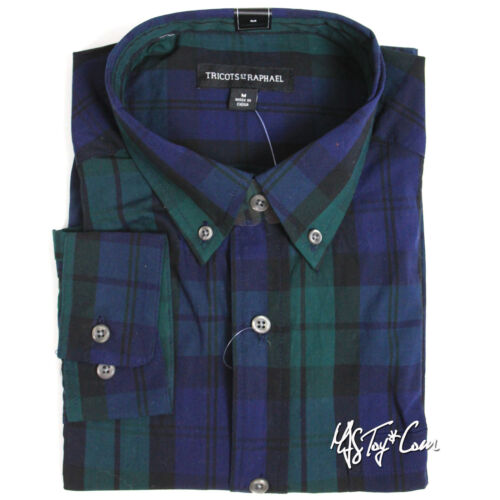 NWT Tricots St Raphael Men/'s 100/% Cotton Woven Long Sleeve Plaid Shirt MSRP $65