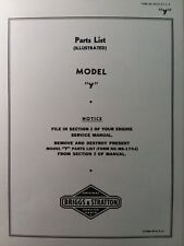 Briggs Amp Stratton Model Y Horizontal Gasoline Pedal Engine Parts Catalog Manual