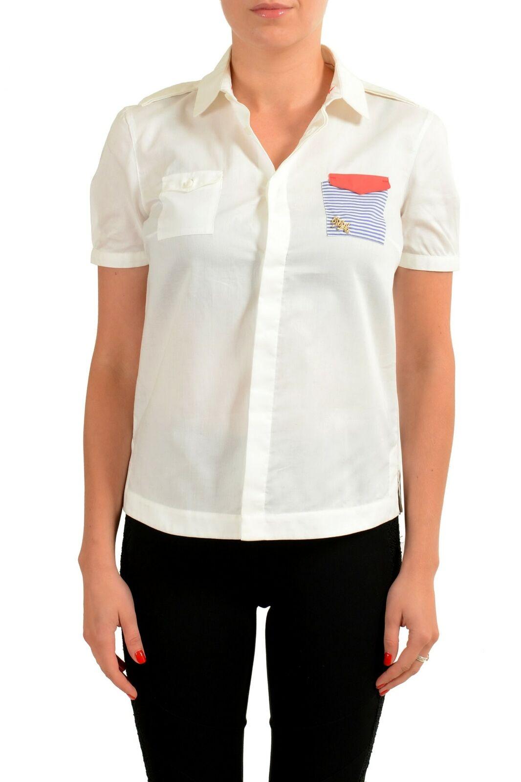 Dsquarot2 Weiß Kurze Ärmel Knopfverschluss Damen Shirt Größe M L