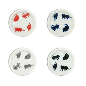 4-PCS-Japanese-3-5-034-D-Ceramic-Soy-Sauce-Dipping-Dish-Walking-Cats-Made-in-Japan