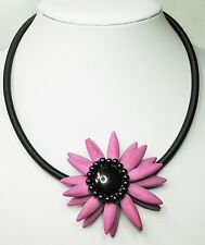 "Large Single Purple Stone Flower Necklace on Black Cord 48cm + 7cm (19"" + 2"")"