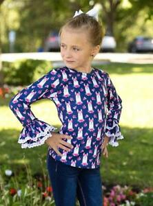 Girls T Shirt New Kids Long Sleeved Cotton Tee Navy Top Ages 2 3 4 5 6 7 Years