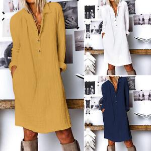 Mode-Femme-Robe-Manche-Longue-Coton-Couleur-Unie-Simple-Droit-Jupe-Midi-Plus
