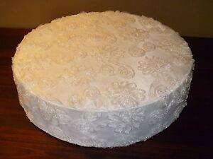 """CAKE STAND, WHITE, 16"""" 18"""" ROUND"""