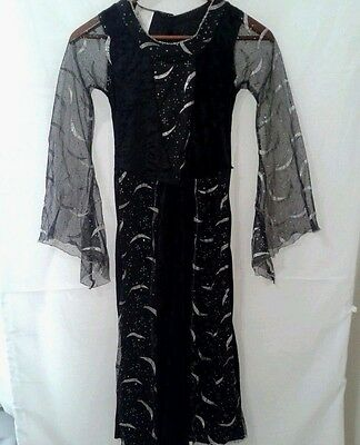 Witch Costume Renaissance Dress Up Child Medium Black Silver Stars Moon Long