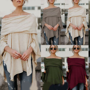 f537cdc16f3 Image is loading Sexy-Women-Off-Shoulder-Asymmetrical-Batwing-Loose-Shirt-