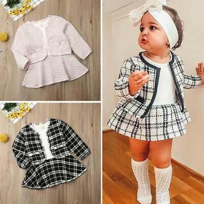 UK Winter Toddler Baby Girl Clothes Outwear Tops+Tutu Dress Formal Outfits Set