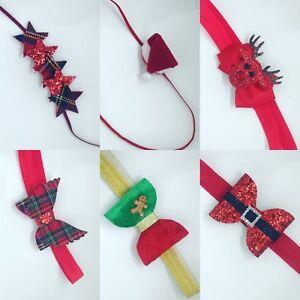 Christmas-Headband-Baby-Girls-Band-Glitter-Reindeer-Tartan-Gingerbread-Star-Lot
