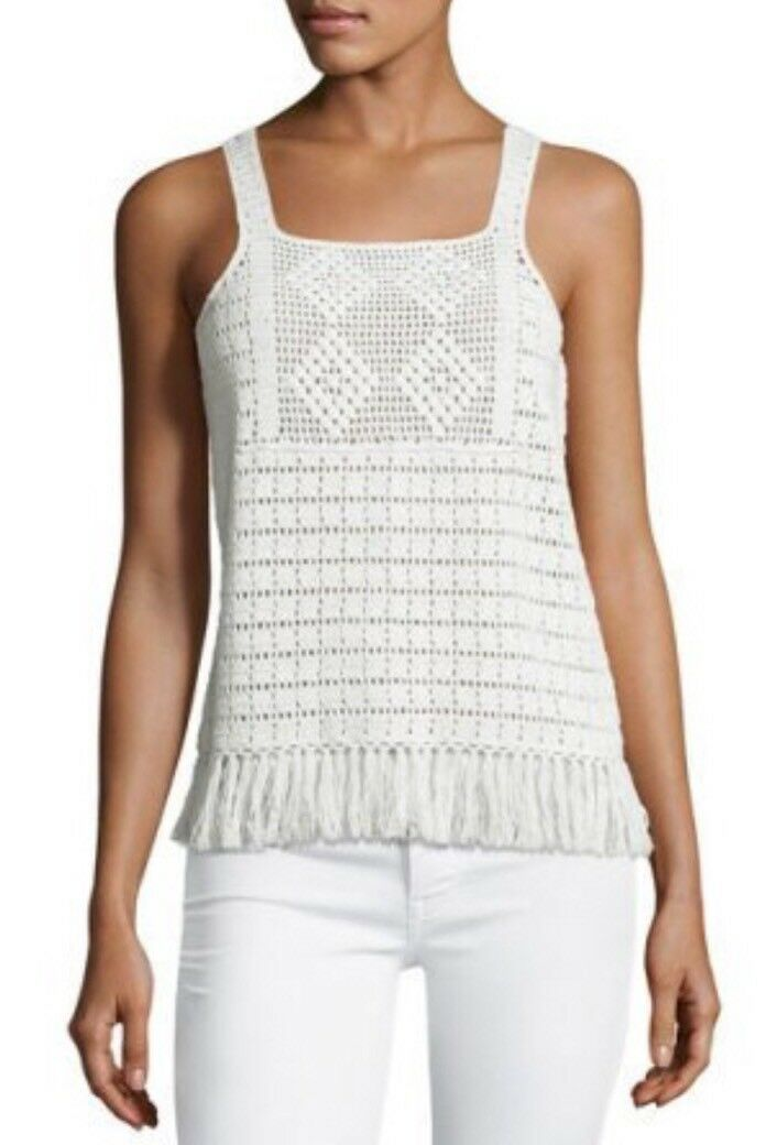 JOIE Baylee Woherren Top L Large Crochet Sleeveless Fringe Hem Blouse Tunic