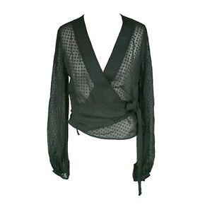 Barbara-Bui-Initials-Size-S-38-Black-Polka-Dot-Sheer-Long-Sleeve-Silk-Wrap-Top