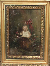 Superbe Peinture de Bébé 1900 dans la Nature Cadre Doré