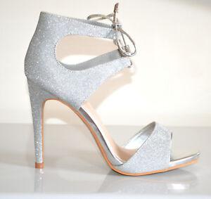 DECOLTE-039-SANDALI-donna-ARGENTO-scarpe-tacco-alto-laccetti-lurex-cerimonia-B10