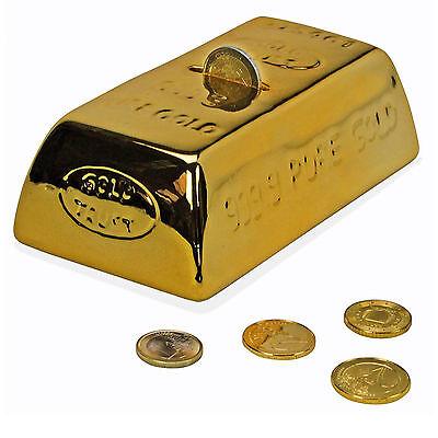 Abschliessbare Keramik Goldbarren Spardose SparbÜchse Gelddose Gold + SchlÜssel
