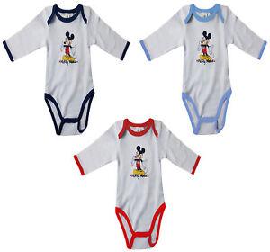 zapatos deportivos mejor autentico comprar baratas Detalles de Disney Mickey Ratón mamelucos Largo Cuerpo Manga para bebés  RALLAS DESDE