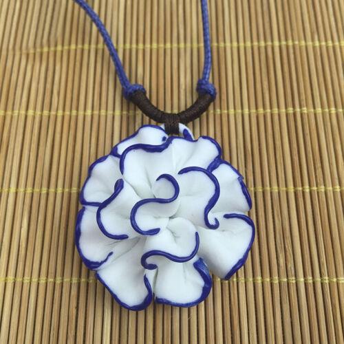 Porcelain National Chinese Ceramic China Lotus Flower Pendant Necklace Fashion