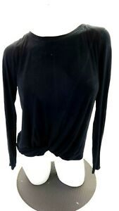 NORDSTROM-WOMENS-BLACK-TWIST-FRONT-LONG-SLEEVE-TEE-SIZE-L