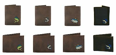 ZEP-PRO Genuine Leather Embroidered MAHI DOLPHIN REDFISH MARLIN Wallet Bifold