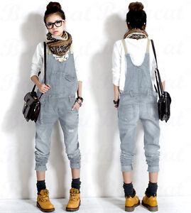 Damen-Casual-Jeans-Cowboy-Overalls-Latzhose-Denim-Jumpsuits-Pants-cargo-Hose-H49